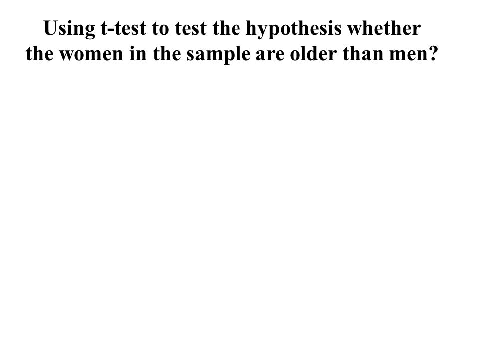 Using t-test to test the hypothesis whether the women in the sample are older than men