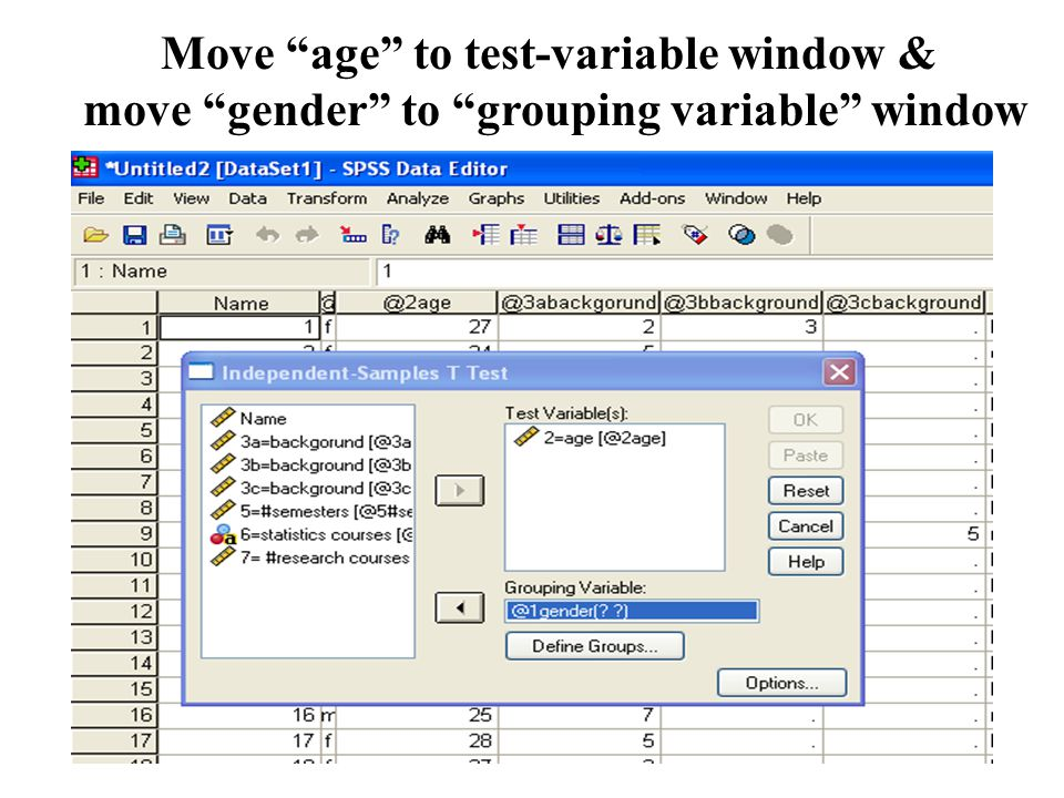 Move age to test-variable window & move gender to grouping variable window