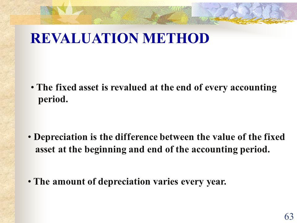 63 The fixed asset is revalued at the end of every accounting period.