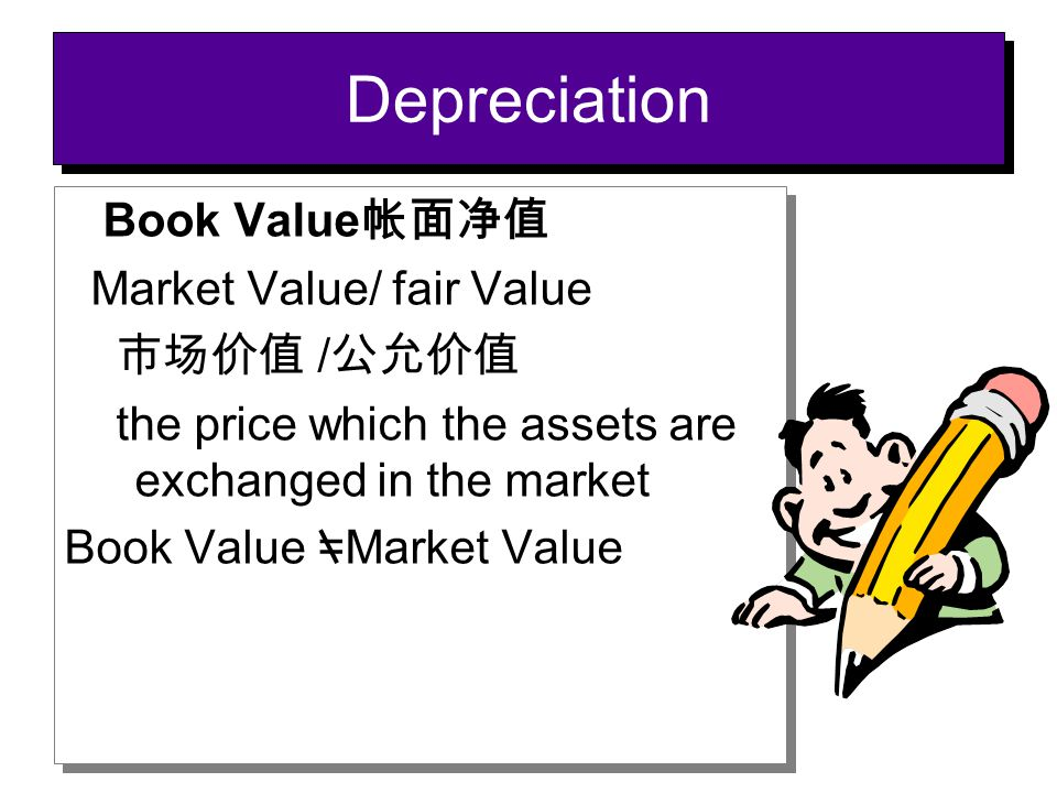 Book Value 帐面净值 Market Value/ fair Value 市场价值 / 公允价值 the price which the assets are exchanged in the market Book Value =Market Value Book Value 帐面净值 M
