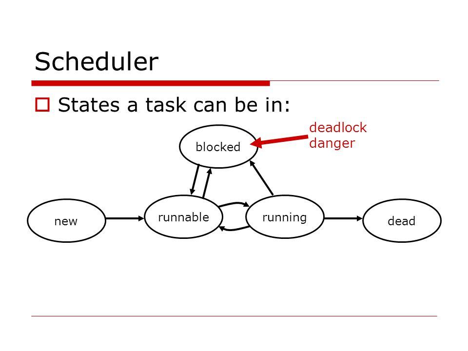 Scheduler  States a task can be in: new runnablerunning dead blocked deadlock danger