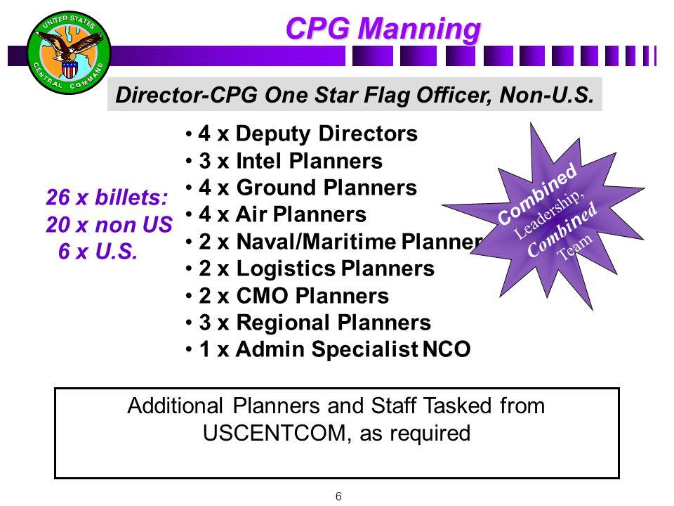 6 4 x Deputy Directors 3 x Intel Planners 4 x Ground Planners 4 x Air Planners 2 x Naval/Maritime Planners 2 x Logistics Planners 2 x CMO Planners 3 x