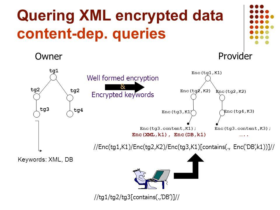 Provider Owner //tg1/tg2/tg3[contains(.,'DB')]// tg1 tg2 tg4 tg3 //Enc(tg1,K1)/Enc(tg2,K2)/Enc(tg3,K1)[contains(., Enc('DB',k1))]// Enc(tg3,K1) Enc(t