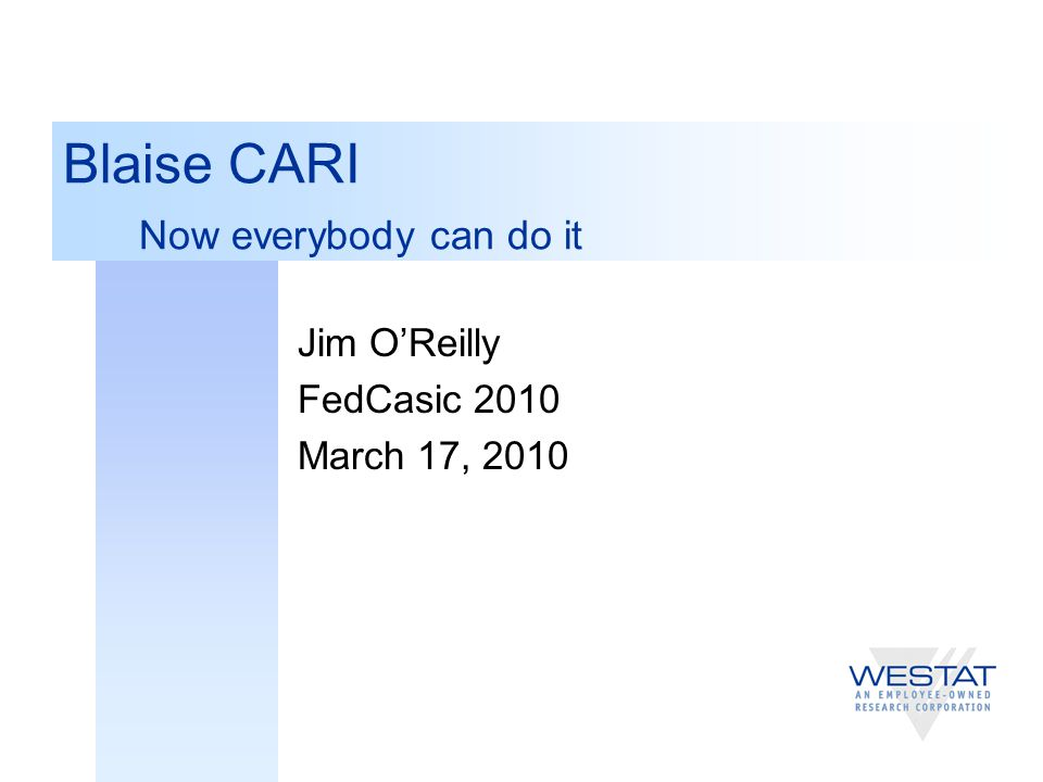 2 Background--BCLUB CARI Working Group  Blaise users implementing CARI variously  As data, paradata, alien procedures, extending audit trail dll …  June 2008: Blaise Team asked BCLUB if CARI should be added to the core product.