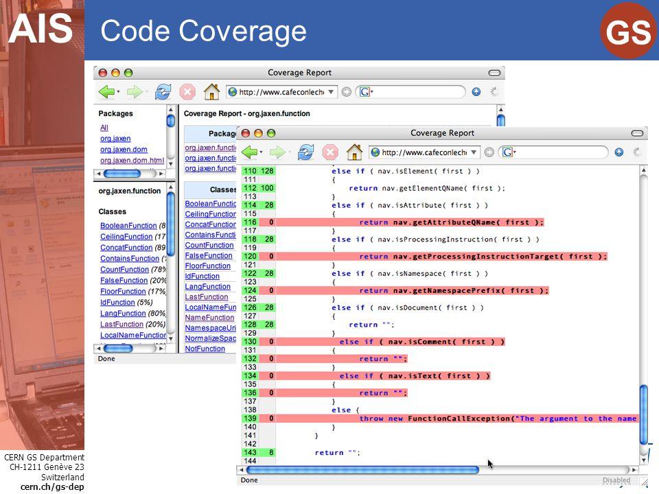 CERN GS Department CH-1211 Genève 23 Switzerland cern.ch/gs-dep Internet Services GS AIS Code Coverage