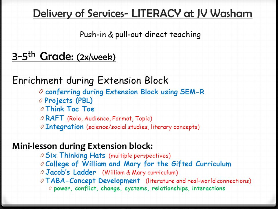 Delivery of Services- LITERACY at JV Washam Push-in & pull-out direct teaching 3-5 th Grade: (2x/week) Enrichment during Extension Block 0 conferring during Extension Block using SEM-R 0 Projects (PBL) 0 Think Tac Toe 0 RAFT (Role, Audience, Format, Topic) 0 Integration (science/social studies, literary concepts) Mini-lesson during Extension block: 0 Six Thinking Hats (multiple perspectives) 0 College of William and Mary for the Gifted Curriculum 0 Jacob's Ladder (William & Mary curriculum) 0 TABA-Concept Development (literature and real-world connections) 0 power, conflict, change, systems, relationships, interactions