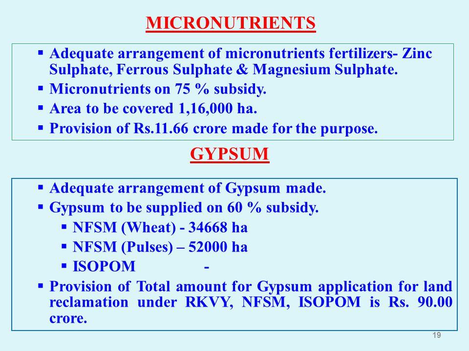 19 MICRONUTRIENTS  Adequate arrangement of micronutrients fertilizers- Zinc Sulphate, Ferrous Sulphate & Magnesium Sulphate.  Micronutrients on 75 %