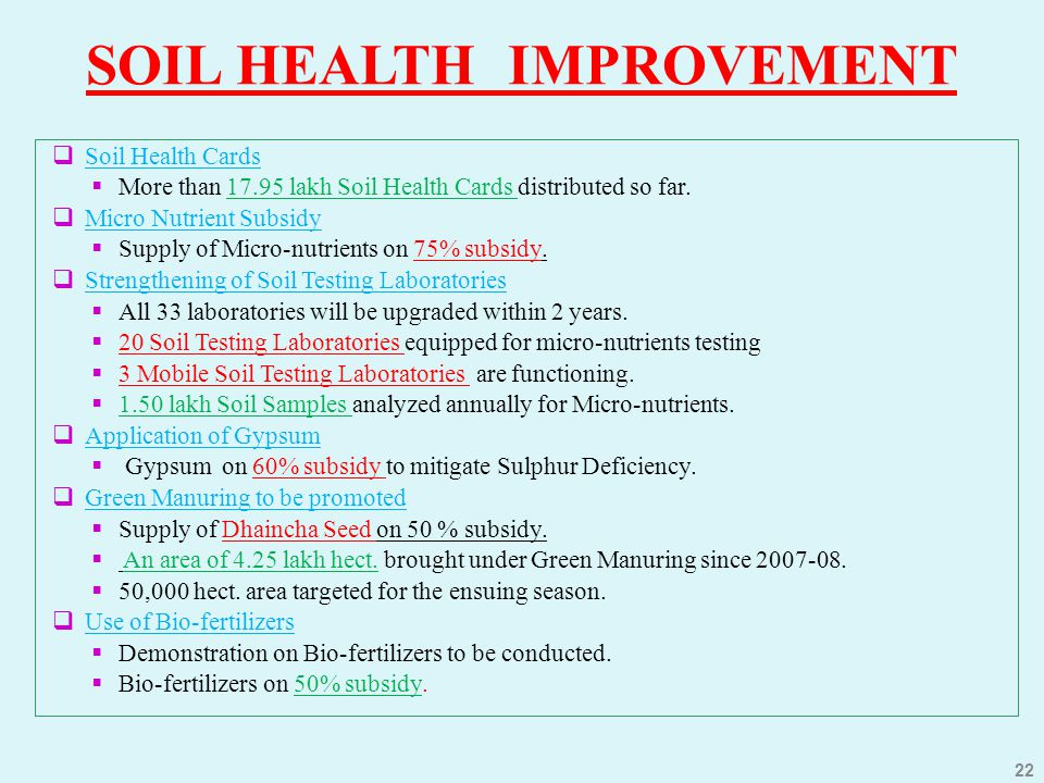 22 SOIL HEALTH IMPROVEMENT  Soil Health Cards  More than 17.95 lakh Soil Health Cards distributed so far.  Micro Nutrient Subsidy  Supply of Micro