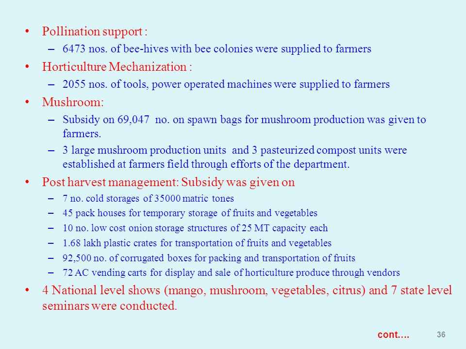 Pollination support : – 6473 nos. of bee-hives with bee colonies were supplied to farmers Horticulture Mechanization : – 2055 nos. of tools, power ope