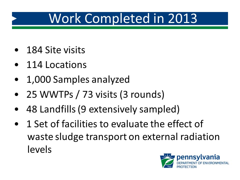 Work Completed in 2013 184 Site visits 114 Locations 1,000 Samples analyzed 25 WWTPs / 73 visits (3 rounds) 48 Landfills (9 extensively sampled) 1 Set