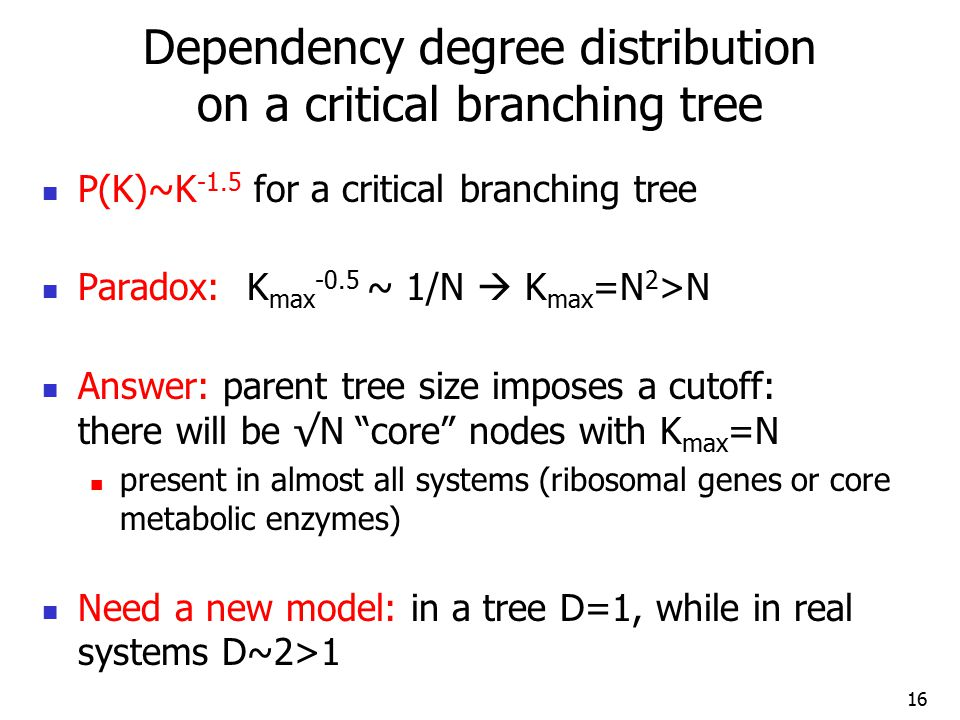 Dependency degree distribution on a critical branching tree P(K)~K -1.5 for a critical branching tree Paradox: K max -0.5 ~ 1/N  K max =N 2 >N Answer: parent tree size imposes a cutoff: there will be √N core nodes with K max =N present in almost all systems (ribosomal genes or core metabolic enzymes) Need a new model: in a tree D=1, while in real systems D~2>1 16