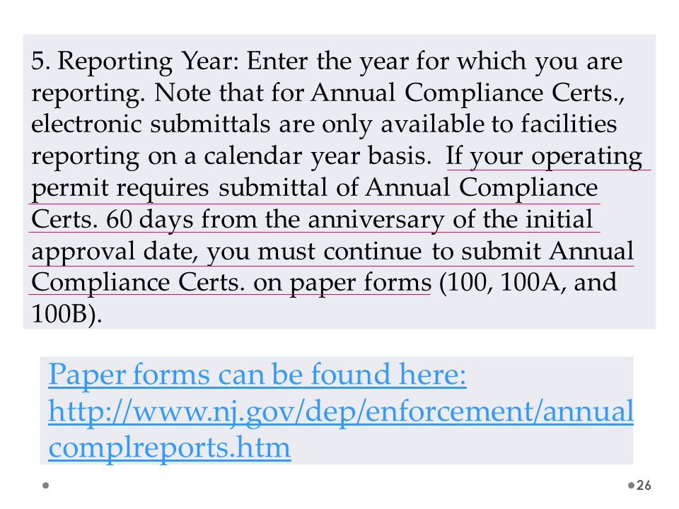 5. Reporting Year: Enter the year for which you are reporting.