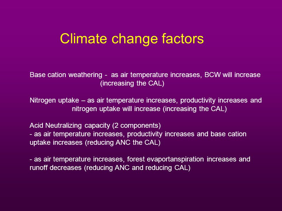 Climate change factors Base cation weathering - as air temperature increases, BCW will increase (increasing the CAL) Nitrogen uptake – as air temperature increases, productivity increases and nitrogen uptake will increase (increasing the CAL) Acid Neutralizing capacity (2 components) - as air temperature increases, productivity increases and base cation uptake increases (reducing ANC the CAL) - as air temperature increases, forest evaportanspiration increases and runoff decreases (reducing ANC and reducing CAL)