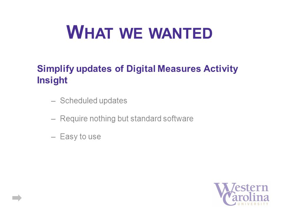 Simplify updates of Digital Measures Activity Insight –Scheduled updates –Require nothing but standard software –Easy to use W HAT WE WANTED