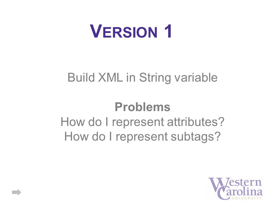 V ERSION 1 Build XML in String variable Problems How do I represent attributes? How do I represent subtags?