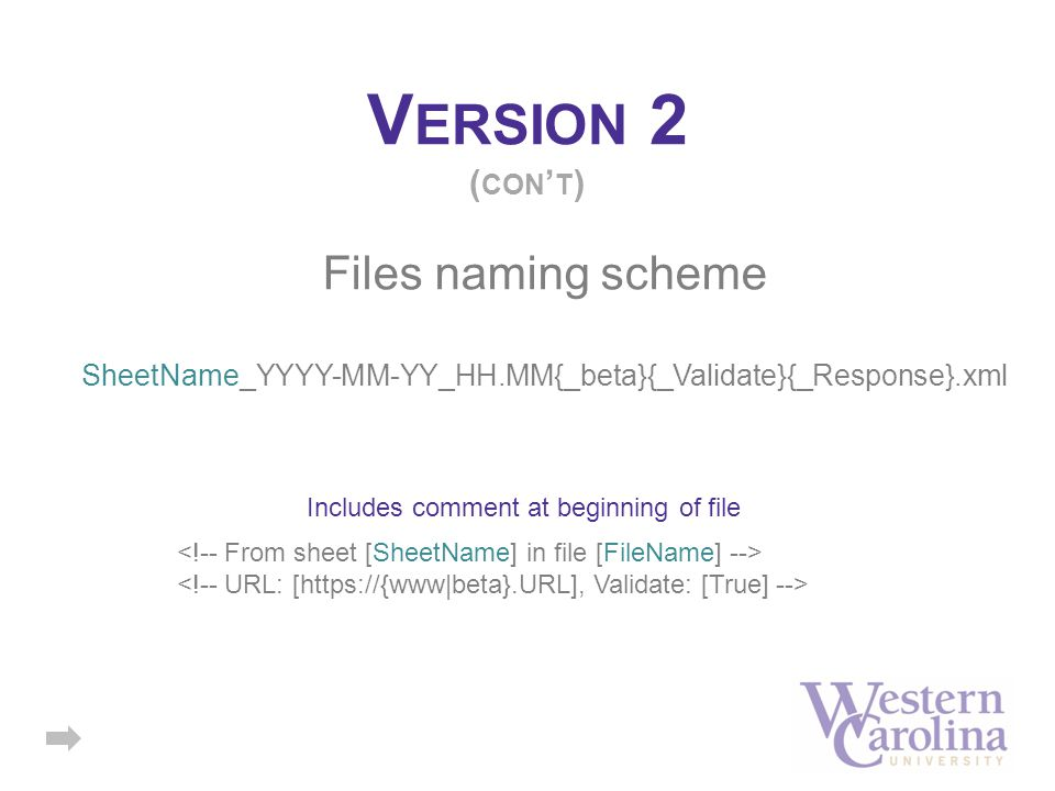V ERSION 2 ( CON ' T ) Files naming scheme SheetName_YYYY-MM-YY_HH.MM{_beta}{_Validate}{_Response}.xml Includes comment at beginning of file