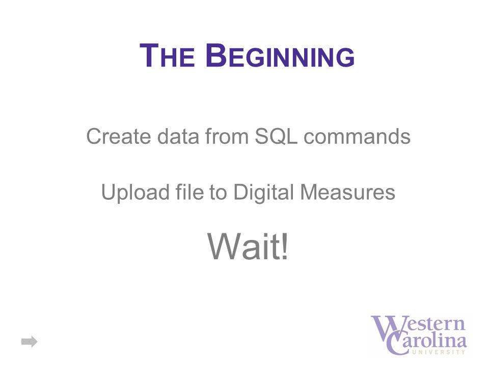 T HE B EGINNING Upload file to Digital Measures Wait! Create data from SQL commands