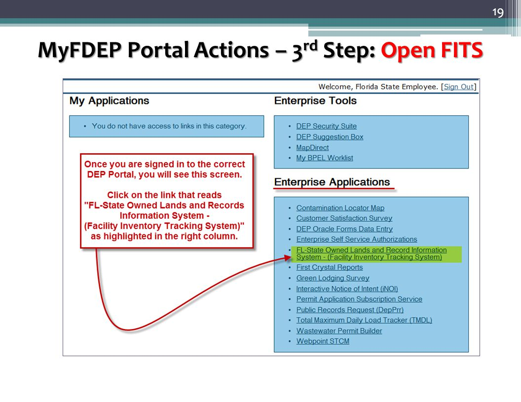 19 MyFDEP Portal Actions – 3 rd Step: Open FITS