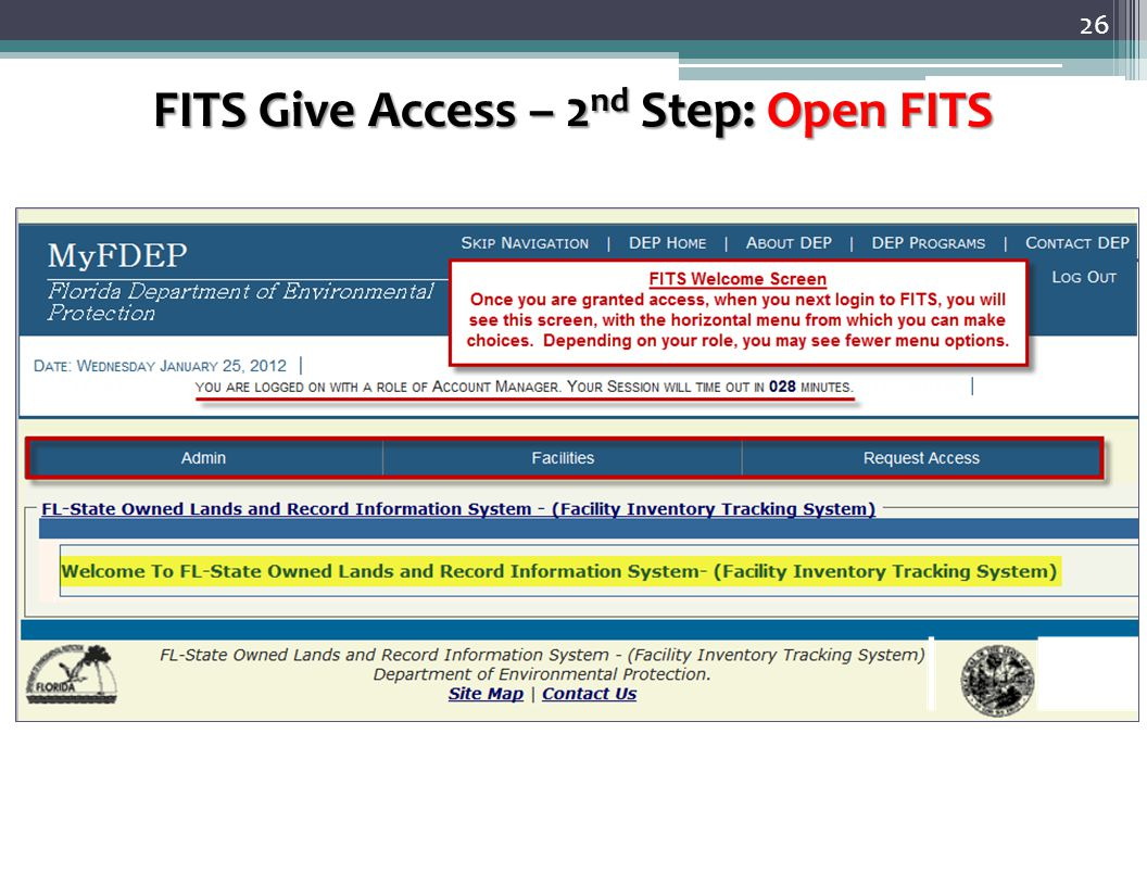 26 FITS Give Access – 2 nd Step: Open FITS