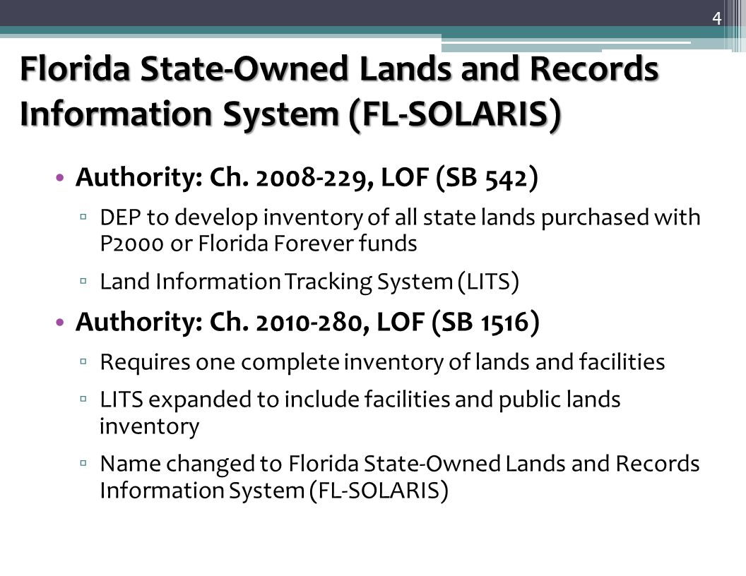 Facility Information Tracking System (FITS) FL-SOLARIS is the system of record for ▫ State-owned lands and Facilities ▫ Owned, leased or otherwise occupied by Florida agencies FL-SOLARIS is designed with two main components ▫ Facility Information Tracking System (FITS) – now available ▫ Lands Information Tracking System (LITS)  Public Lands Inventory (PLI) will be used by LITS for verification of tax roll data The FL-SOLARIS FITS component is designed to ▫ Record data from agencies on state-owned facilities ▫ Provide the mechanism for agencies for their annual identification and reporting of properties that are candidates for disposition 5