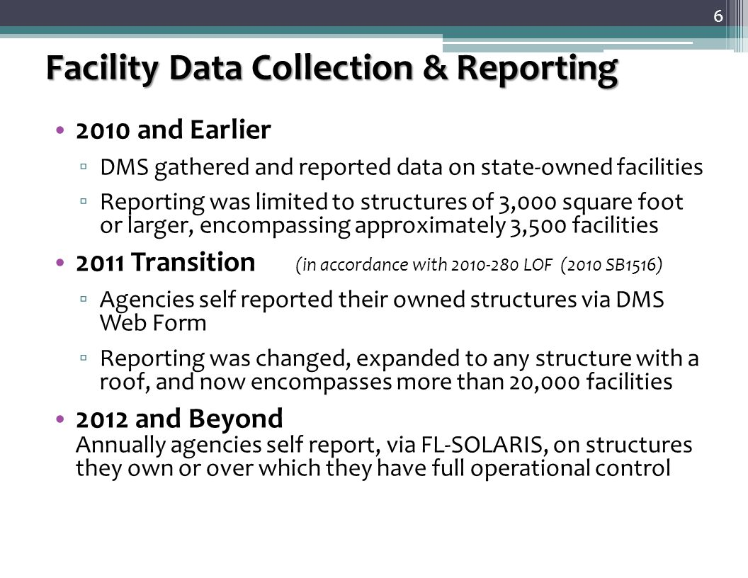 Leased Facility Data — Facility Leases are not entered via FITS The majority of agencies' leasing operations are already under DMS purview and that leasing data will be transmitted to FITS by DMS ▫ DMS will conduct a required annual lease data validation ▫ The process & format will be similar to the one used for the 2010 leasing data validation There are other agencies, including the WMDs, Universities, and Colleges that are not under DMS leasing management ▫ These agencies will have to start reporting lease data via a DMS provided web interface ▫ This new web interface is scheduled to be available in Spring 2012 7