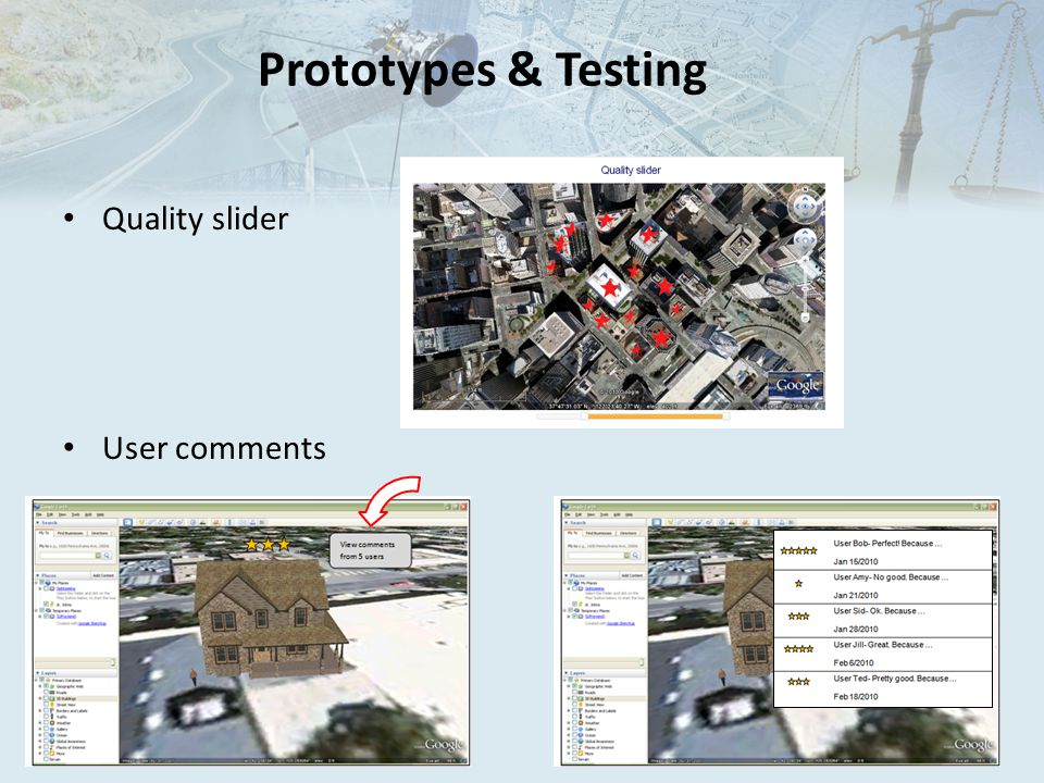 Prototypes & Testing Quality slider User comments