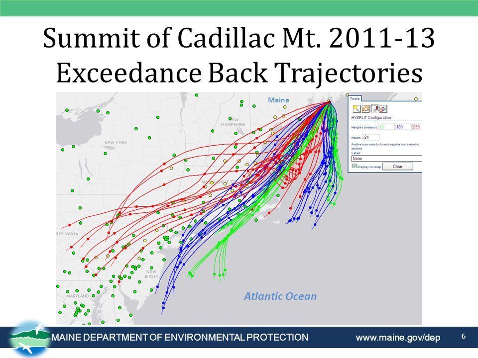 Summit of Cadillac Mt. 2011-13 Exceedance Back Trajectories 6 Atlantic Ocean Maine