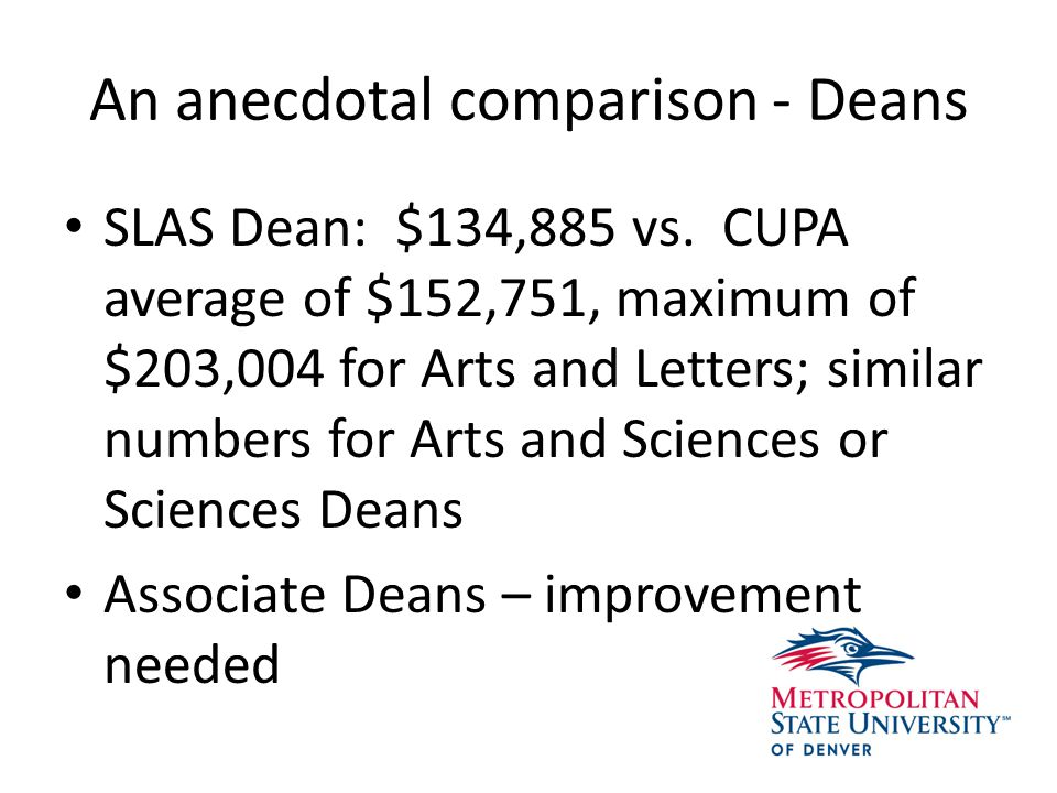 An anecdotal comparison - Deans SLAS Dean: $134,885 vs.