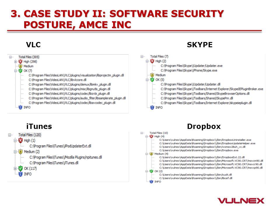 3. CASE STUDY II: SOFTWARE SECURITY POSTURE, AMCE INC VLCSKYPE iTunesDropbox