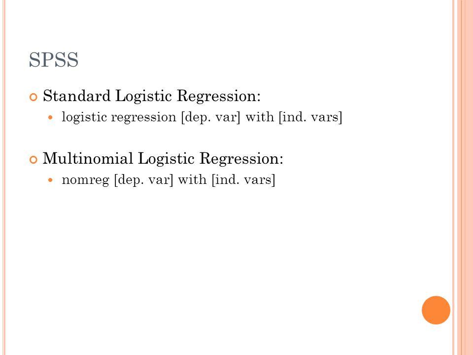 SPSS Standard Logistic Regression: logistic regression [dep.