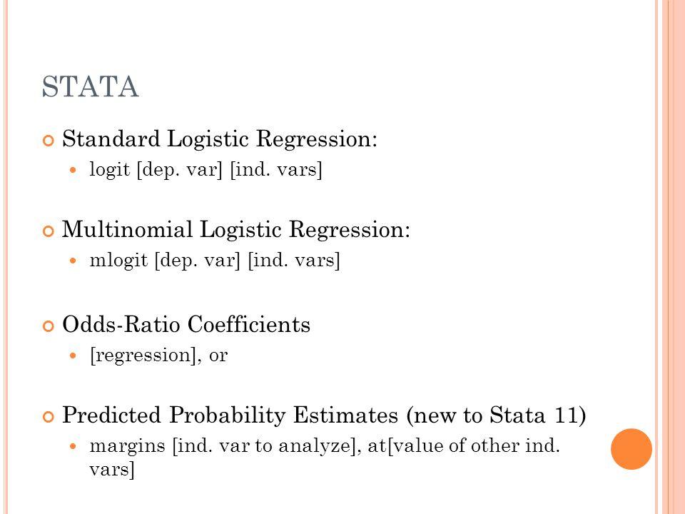 STATA Standard Logistic Regression: logit [dep. var] [ind.
