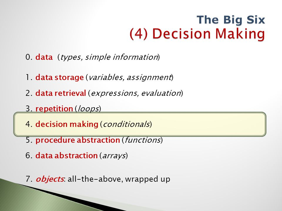 0.data (types, simple information) 1. data storage (variables, assignment) 2.