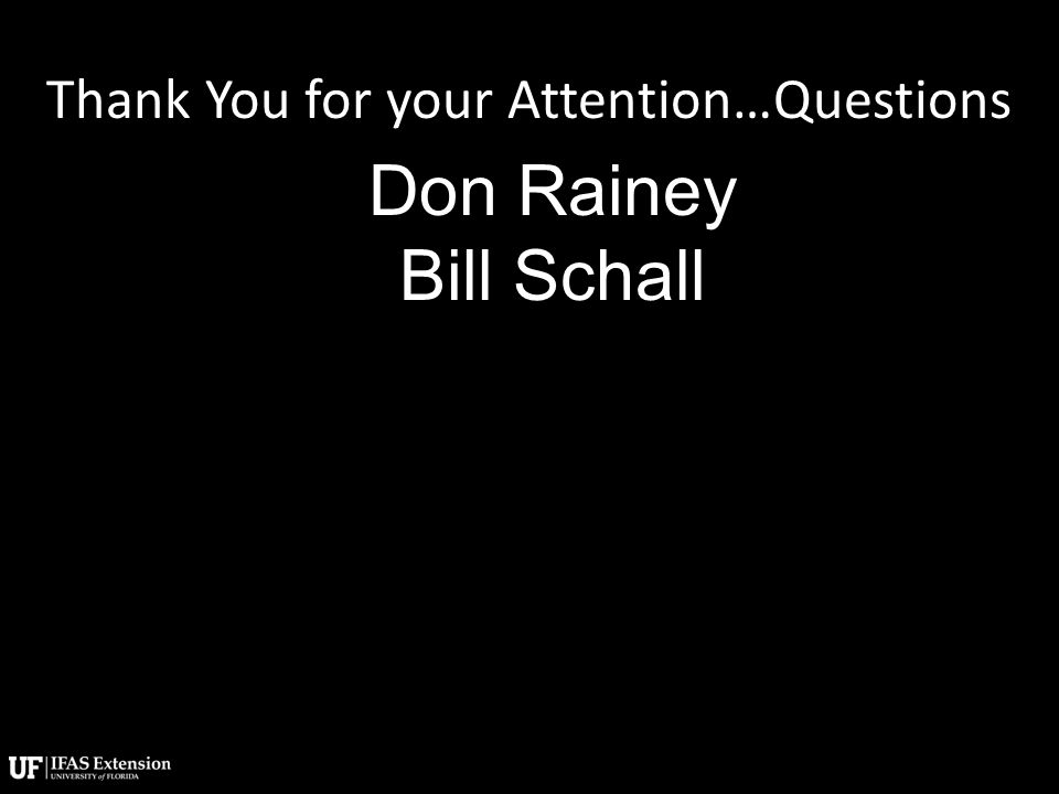 Thank You for your Attention…Questions Don Rainey Bill Schall