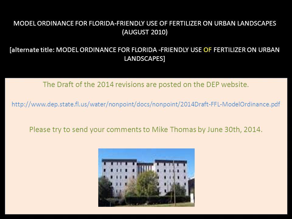 MODEL ORDINANCE FOR FLORIDA-FRIENDLY USE OF FERTILIZER ON URBAN LANDSCAPES (AUGUST 2010) [alternate title: MODEL ORDINANCE FOR FLORIDA -FRIENDLY USE O