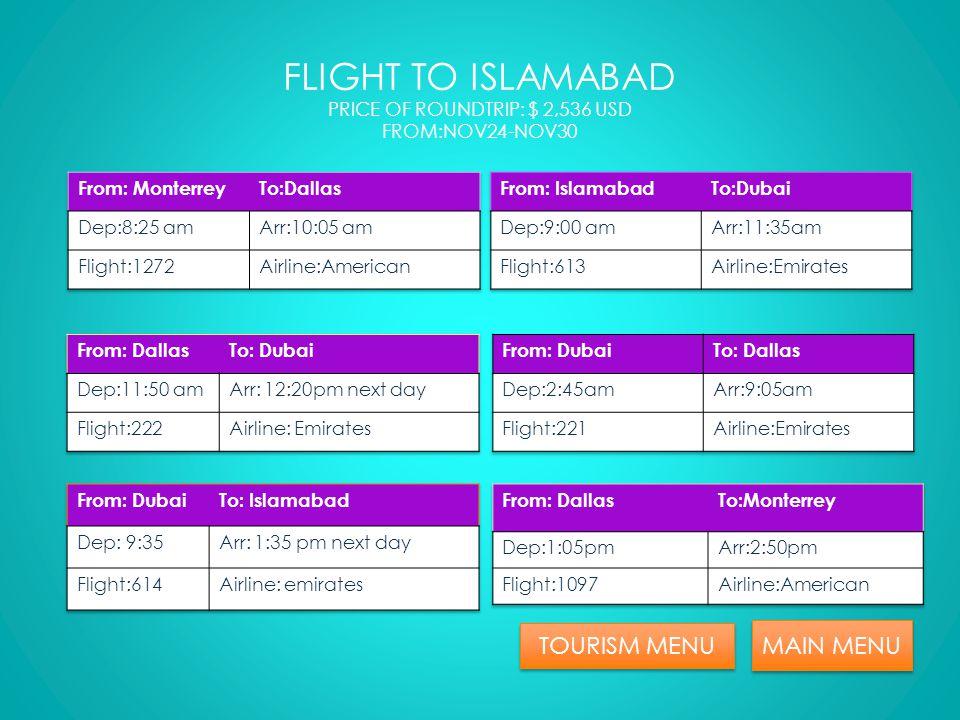 TOURISM MENU MAIN MENU FLIGHT POINT OF INTEREST MENU