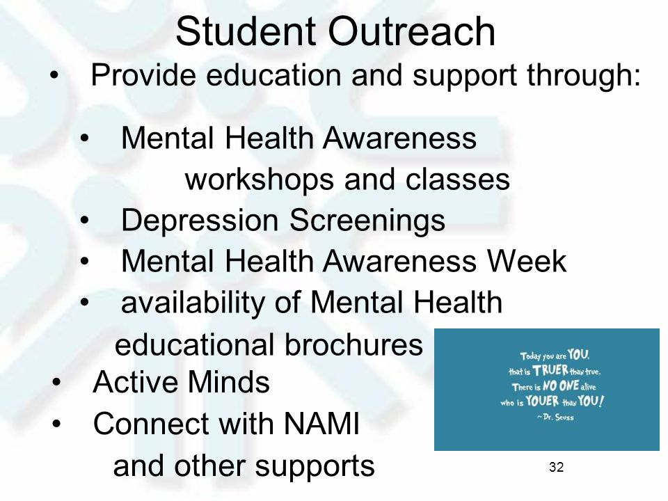 Student Outreach Provide education and support through: Mental Health Awareness workshops and classes Depression Screenings Mental Health Awareness Week availability of Mental Health educational brochures Active Minds Connect with NAMI and other supports 32