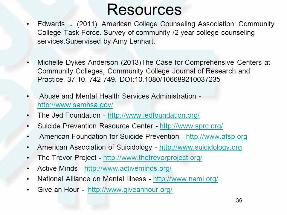 Resources Edwards, J. (2011). American College Counseling Association: Community College Task Force. Survey of community /2 year college counseling se