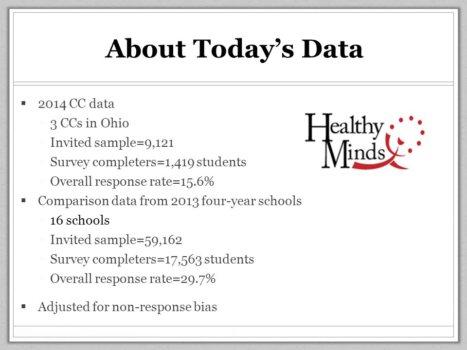 About Today's Data  2014 CC data  3 CCs in Ohio  Invited sample=9,121  Survey completers=1,419 students  Overall response rate=15.6%  Comparison data from 2013 four-year schools  16 schools  Invited sample=59,162  Survey completers=17,563 students  Overall response rate=29.7%  Adjusted for non-response bias 7