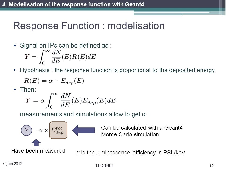 Response Function : modelisation 7 juin 2012 T.BONNET 12 Signal on IPs can be defined as : Hypothesis : the response function is proportional to the deposited energy: Then: measurements and simulations allow to get α : Have been measured Can be calculated with a Geant4 Monte-Carlo simulation.