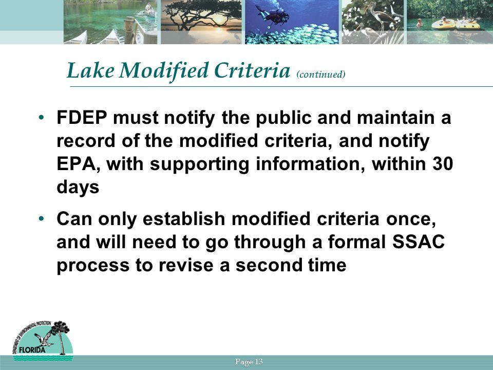 Page 13 Lake Modified Criteria (continued) FDEP must notify the public and maintain a record of the modified criteria, and notify EPA, with supporting information, within 30 days Can only establish modified criteria once, and will need to go through a formal SSAC process to revise a second time