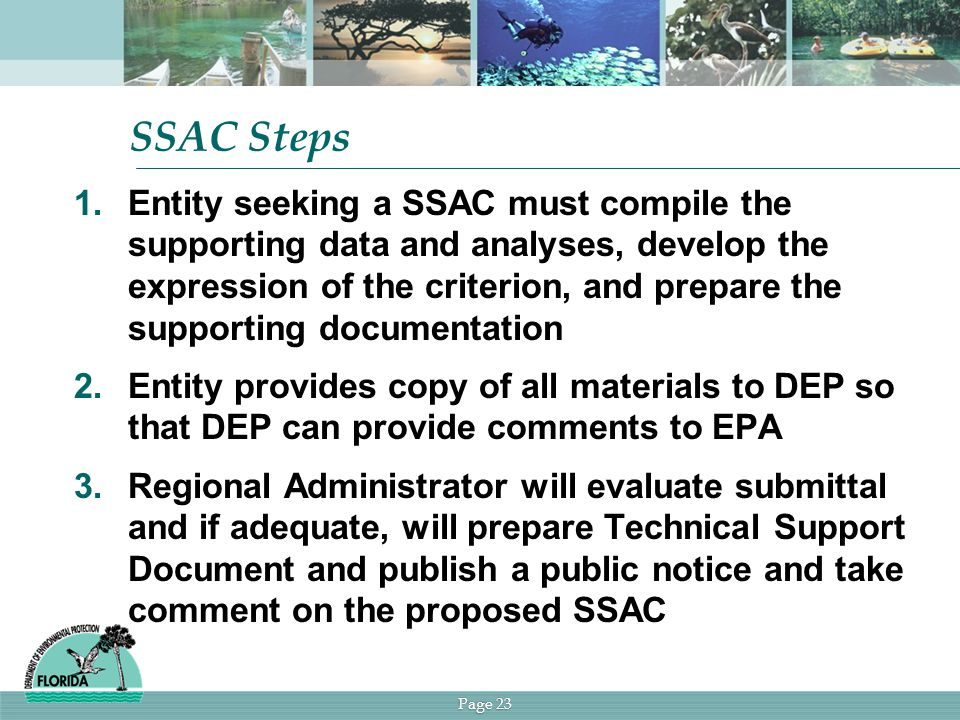 Page 23 SSAC Steps 1.Entity seeking a SSAC must compile the supporting data and analyses, develop the expression of the criterion, and prepare the supporting documentation 2.Entity provides copy of all materials to DEP so that DEP can provide comments to EPA 3.Regional Administrator will evaluate submittal and if adequate, will prepare Technical Support Document and publish a public notice and take comment on the proposed SSAC