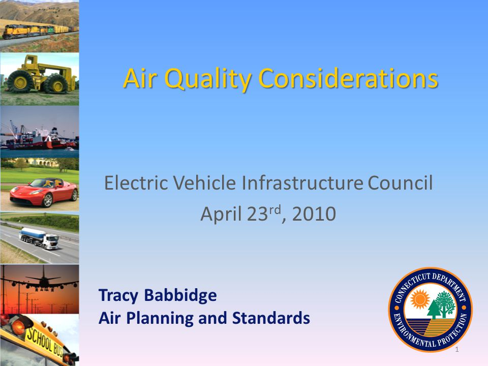 Air Quality Considerations Electric Vehicle Infrastructure Council April 23 rd, 2010 Tracy Babbidge Air Planning and Standards 1