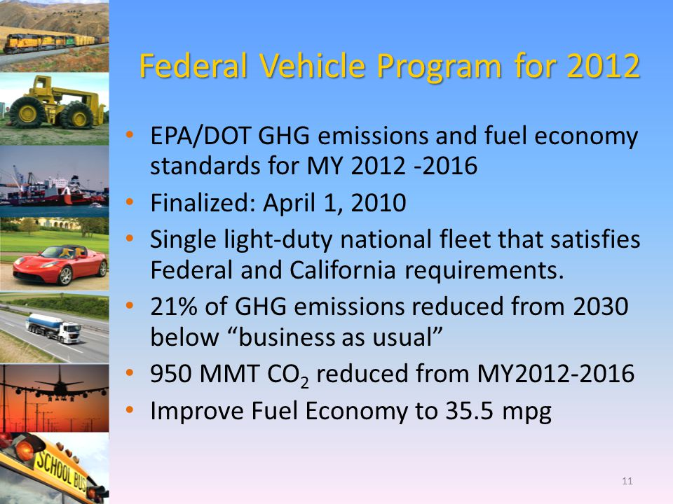 Federal Vehicle Program for 2012 EPA/DOT GHG emissions and fuel economy standards for MY 2012 -2016 Finalized: April 1, 2010 Single light-duty nationa