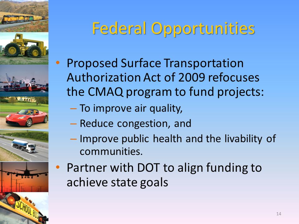 Federal Opportunities Proposed Surface Transportation Authorization Act of 2009 refocuses the CMAQ program to fund projects: – To improve air quality,