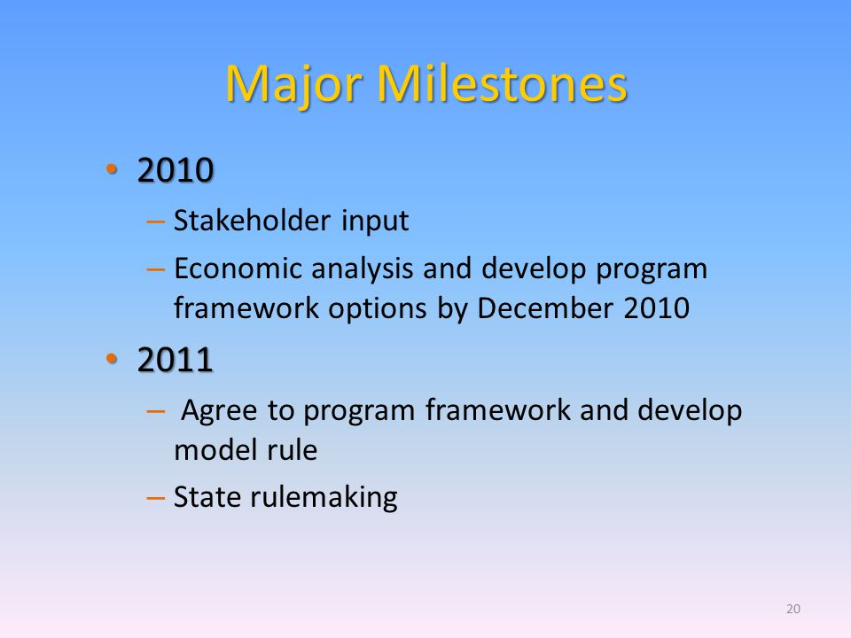 Major Milestones 2010 2010 – Stakeholder input – Economic analysis and develop program framework options by December 2010 2011 2011 – Agree to program