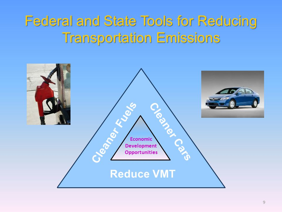 Cleaner Fuels Cleaner Cars Reduce VMT Federal and State Tools for Reducing Transportation Emissions Economic Development Opportunities 9