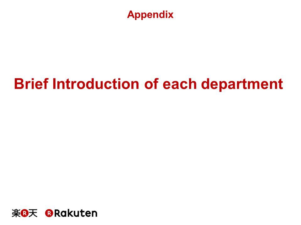 Brief Introduction of each department Appendix