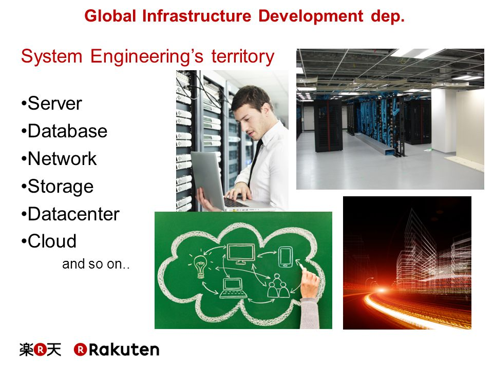 System Engineering's territory Server Database Network Storage Datacenter Cloud and so on.. Global Infrastructure Development dep.