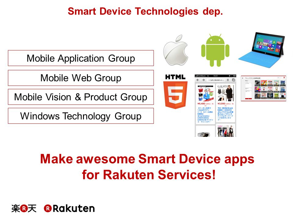 Mobile Application Group Mobile Web Group Mobile Vision & Product Group Windows Technology Group Smart Device Technologies dep. Make awesome Smart Dev