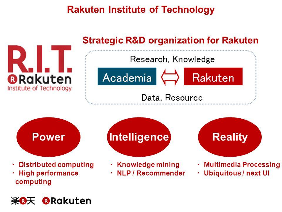 Rakuten Institute of Technology RealityIntelligencePower ・ Multimedia Processing ・ Ubiquitous / next UI ・ Distributed computing ・ High performance com